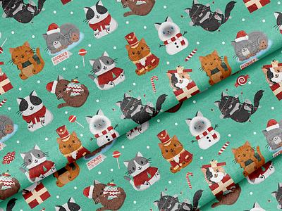 Holiday Kitty Fabric! christmas cat children cute illustration surface pattern surface pattern design pattern design