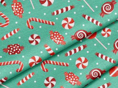 Christmas Peppermint Candy wrapping paper holiday decor candy cane cady christmas textile surface pattern surface pattern design pattern design