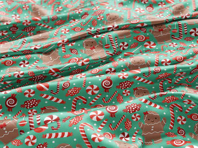 Gingerbreads & Peppermints gingerbread man textile fabric christmas party christmas holiday peppermint gingerbread surface pattern surface pattern design pattern design