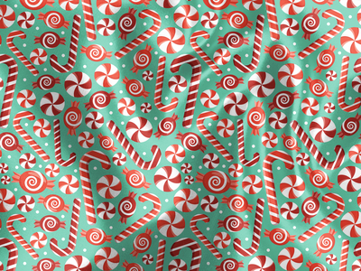 Candy Cane Explosion mint santa event christmas holiday candy cane design floral pattern illustration surface pattern surface pattern design pattern design