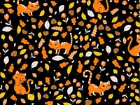 Halloween Cat and Florals