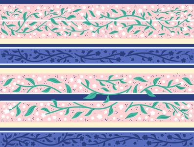 JOYLYN S FLORAL RIBBON flowers stripe stripes design pink floral vector flowers illustration surface pattern surface pattern design pattern design