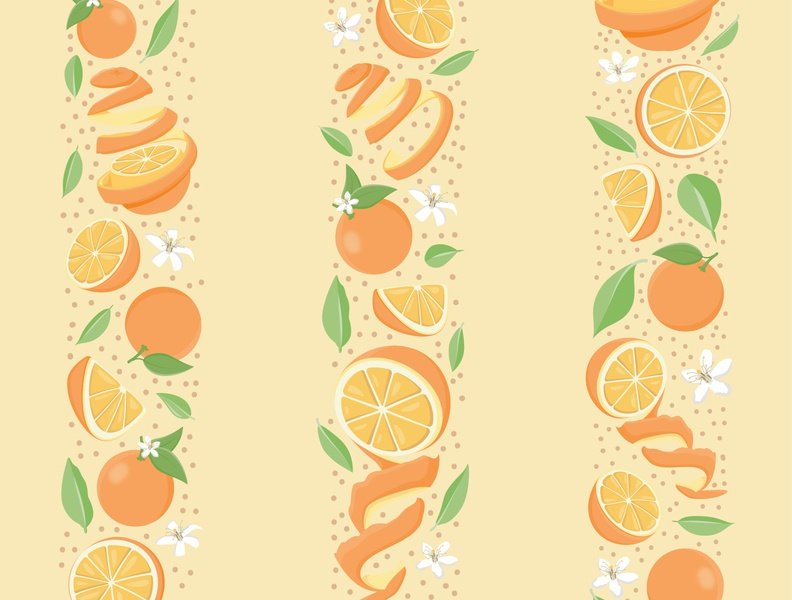 Orange Peel Strips childrens book summer textiles repeat print textile childrens children branding design pattern floral vector flowers cute illustration surface pattern surface pattern design pattern design