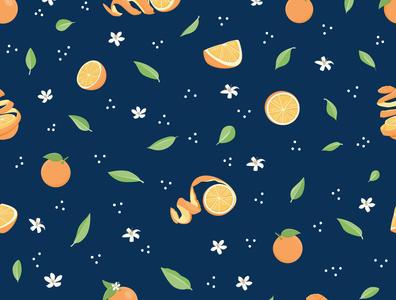 Freshly Squeezed orange juice oranges design pattern floral vector flowers cute illustration surface pattern surface pattern design pattern design
