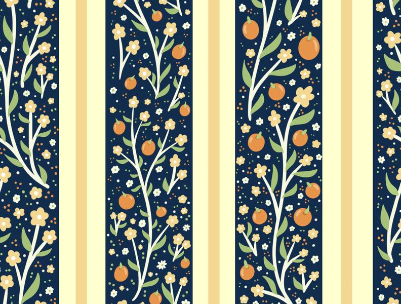 Orange Grove kids illustration kids youth apparel children textile pattern print textile navy orange pattern floral vector flowers cute illustration surface pattern surface pattern design pattern design