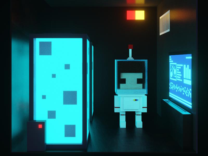 A little friend lost in space... future computer alien spaceship astronaut space