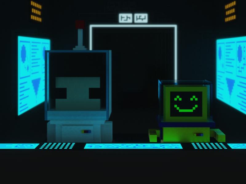 Estaba muy solo, así que decidí hacerle un amigo... spaceship future computers robot astronaut voxels space