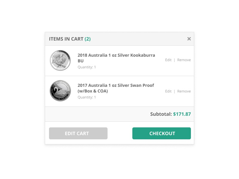 Quick Cart View white clean ux ui cart