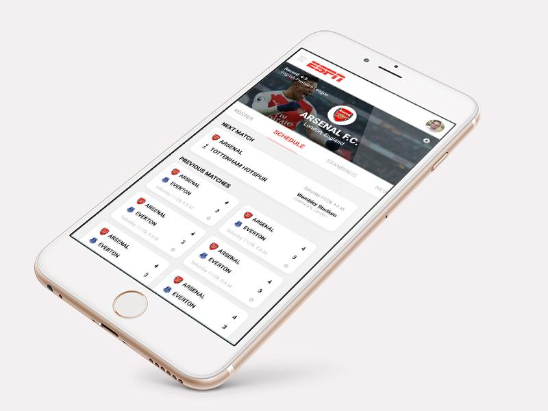 ESPN App ui ux product app espn
