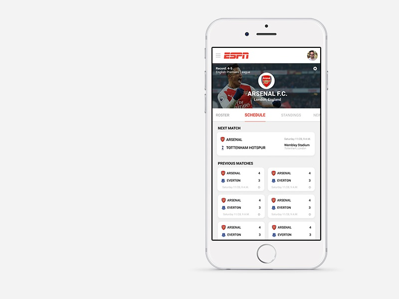 ESPN Soccer App ui ux product app espn