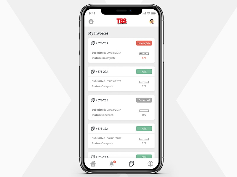 Invoice Overview ui card simple product ux factor
