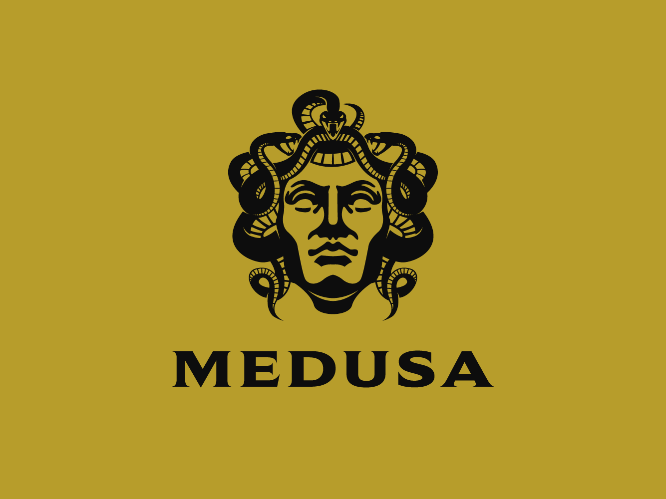 Medusa snake viper mytholigy greek mythology portait face vector logo