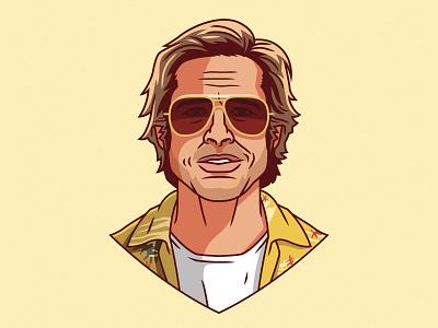 Brad Pitt as Cliff Booth portrait pop art actor film tarantino hollywood cartoon fan art branding graphic design icon logo illustration vector