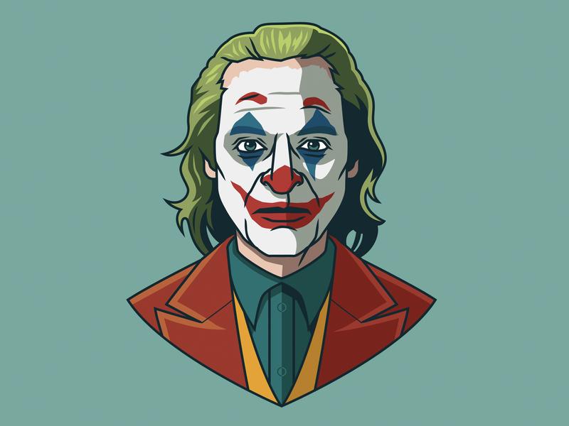 Joaquin Phoenix as Joker dccomics portrait pop art dc batman joker film movie fan art cartoon logo design design branding graphic design icon logo illustration vector
