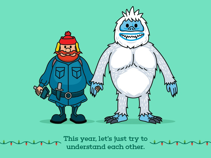 Yukon and the Bumble merry christmas abominable snowman yukon cornelius santa bumble digital vector illustration reindeer rudolph holidays christmas