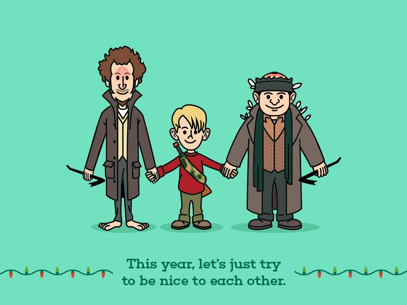 Kevin, Marv and Harry illustration vector fan art home alone funny drawing bandits wet merry movie illustration christmas