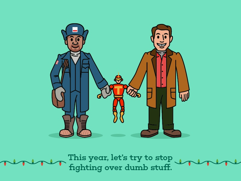Myron, Turbo Man and Howard film movie jingle all the way fan art funny vector illustration cartoon holidays christmas