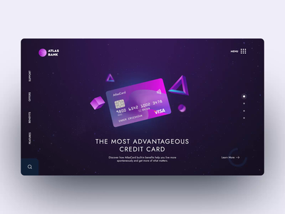Atlas Bank credit card animation banking finance website design interaction design motion design user interface ux ui