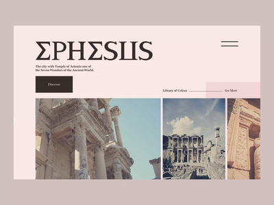 Ephesus ancient motion graphics typography website design interaction design animation motion design ux user interface ui