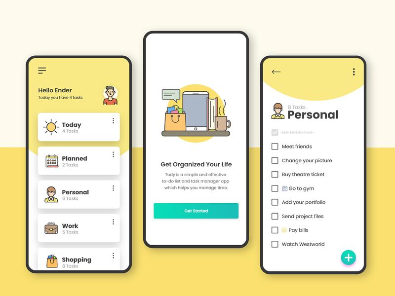 Tudy user interface to do app app concept app design flat  design vector user experience to do list ux mobile app app ui