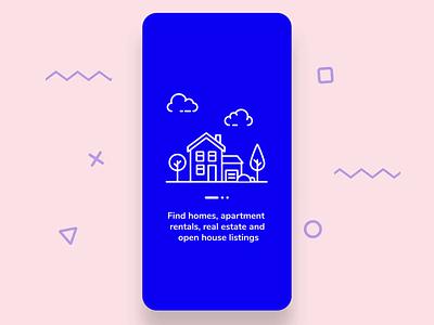 Real Estate App Onboarding house building onboarding screens onboarding mobile app real estate real estate agent animation user interface motion graphics ux ui illustration vector