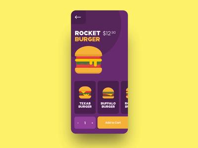 Burger App vector user interface food app burger animation motion graphics mobile app ux flat  design ui illustration