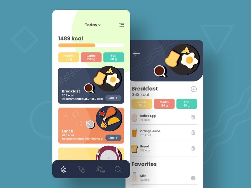 Dietta health app food app ui colorful illustration diet app vector user interface design mobile app ux ui