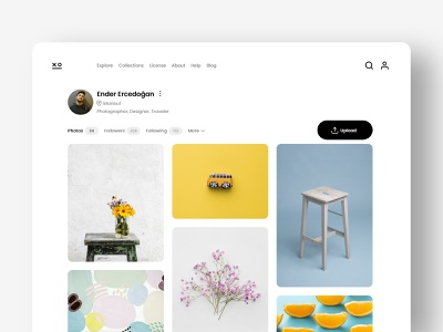 xo simple clean minimalist profile page web design website user interface design stock photo photography ux ui