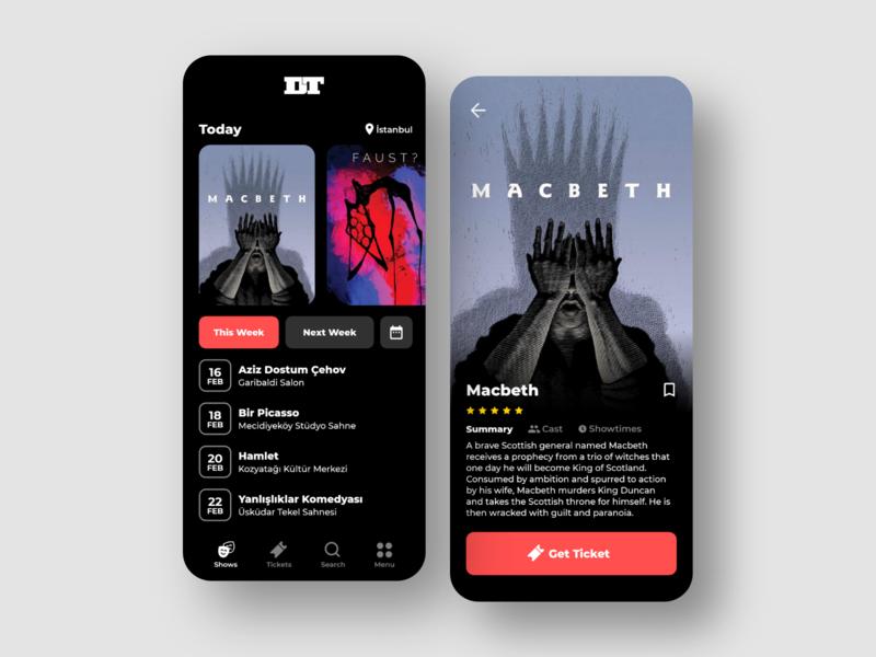 Devlet Tiyatroları App UI mobile ticket ticket app theatre app theatre mobile app user interface ux ui