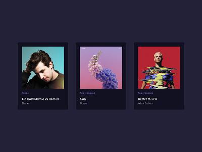 Stoney roads music cards cards music minimal clean ux ui desktop website