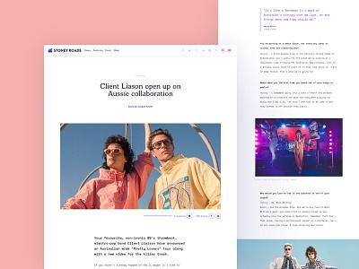 Stoney Roads feature article article feature music minimal clean ux ui desktop website