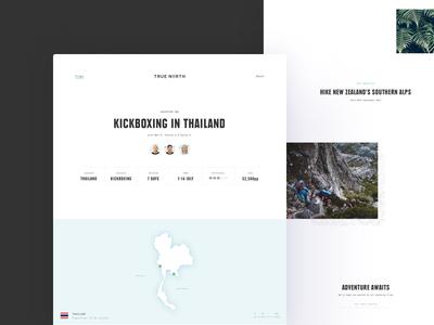 True North tip page adventure travel minimal clean ux ui desktop website
