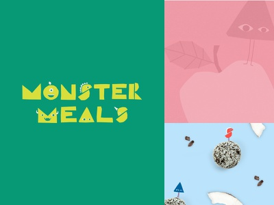 Monster Meals brand tile monsters colourful fun typography minimal clean logo branding