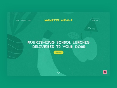 Monster Meals website illustration green minimal clean ux ui desktop website