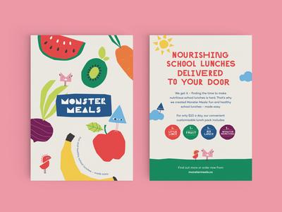 Monster Meals flyer playful fun fresh green print branding