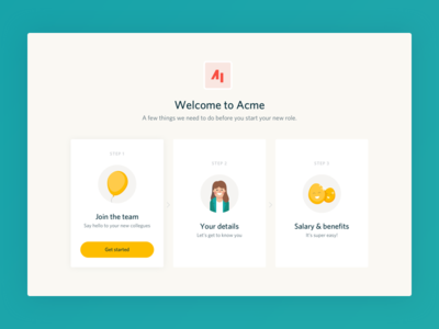Flare employee onboarding welcome dashboard ux ui product minimal clean application
