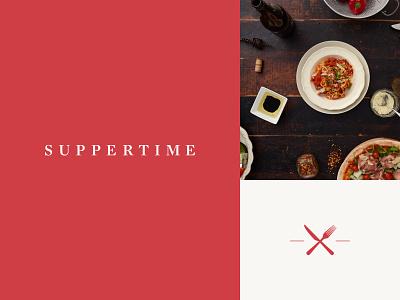 Suppertime brand tile monogram icon typography minimal clean logo branding