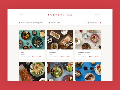 Suppertime website ondemand onlinestore ui ux food ecommerce desktop clean
