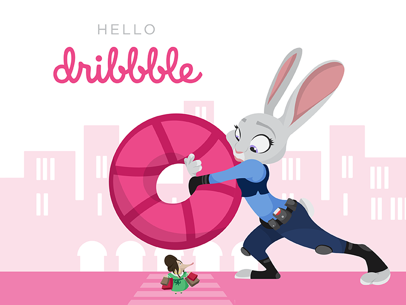 Hello Dribbble from Spadydesigns! city hello welcome character animal vector illustration illustration bunny zootopia disney vector