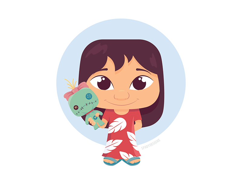 Little Lilo doll animation hawaii flat vector vector cartoon character alien disneyworld lilo and stitch lilo disney