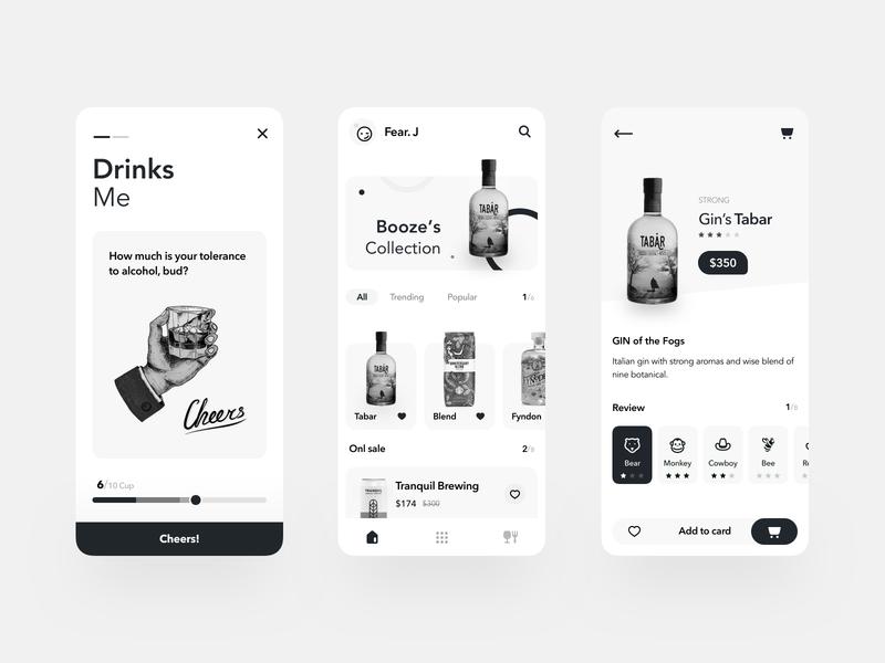 Booze Mobile App graydesign clean design minimal ux booze black and white mobile apps ui