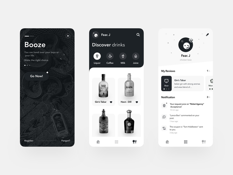 Booze Mobile App graydesign booze drink minimal clean design black  white ui ux typography mobile apps design