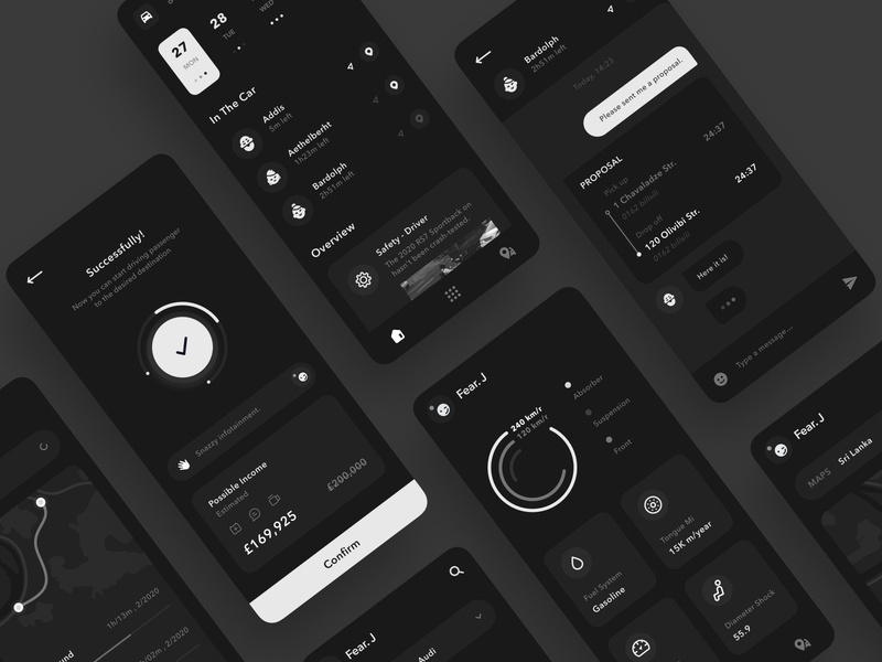 Audi App Collection illustration gray design mobile apps graydesign design black and white ux ui minimal clean design
