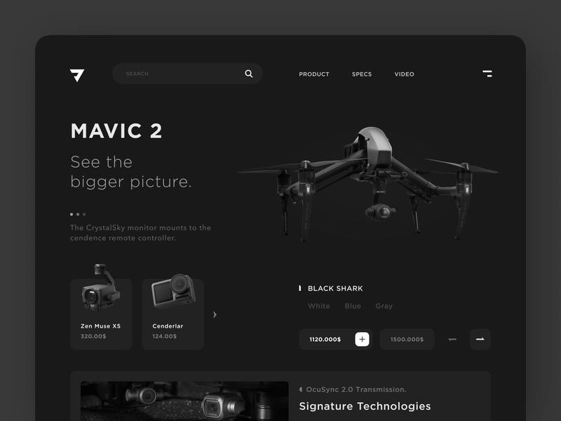Drone Landing Concept typography illustration vector black  white ux ui minimal clean design landing page drone