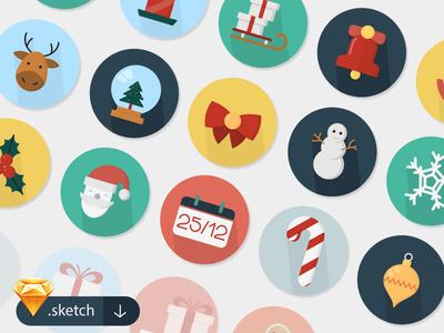 30 Free Christmas Icons eps sketch icons flat christmas vector free ai
