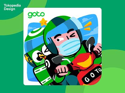 GoTo Illustration - A Joyful Ride character graphic design ride mascot gojek branding design tokopedia ux ui illustration