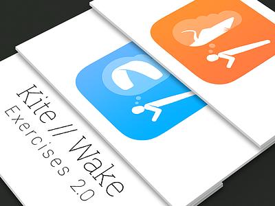 Kite'n'Wake App Icons app icon kiteboarding wakeboarding exercises