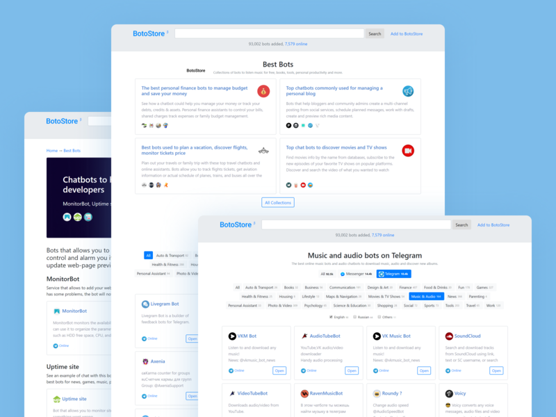 BotoStore — best online chat bots and assistants by Kos on Dribbble