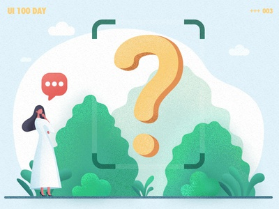 illustrations-? plant tree girl ask doubt ui illustration