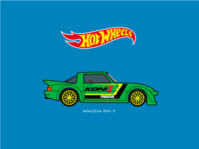 Hot Wheels Car Mazda RX-7 Illustration
